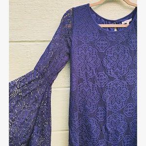 25% Off Bundles! Navy Lace Bell Sleeve Dress